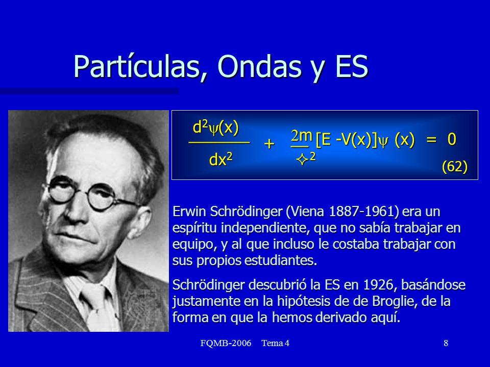 Partículas, Ondas y ES dx2 d2y(x) _______ [E -V(x)]y (x) = 0 + 2m 2